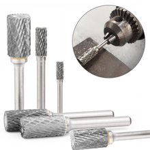 Carbide Tungsten Steel Grinding Head 1pcs Double Slot Cylindrical Ball Head Milling Cutter Woodworking Metal Rotary File