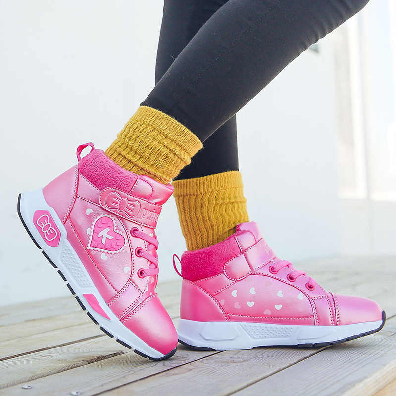 New Kids Shoes School Girls Pu Tennis Shoes Lovely Print Princess Big Children Casual Sneakers Fashion Soft Bottom White Shoes