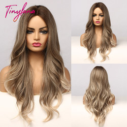 TINY LANA Synthetic Ombre Brown with Golden Highlight Wigs Long Wavy Heat Resistant Fiber Middle Part Cosplay Wigs for Women