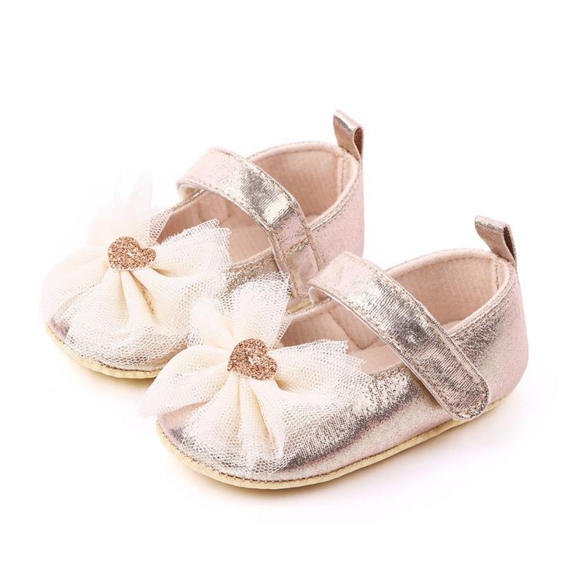 Newborn Baby Girls PU Shoes Cute Solid Color Mesh Bowknot Design Anti-Slip Comfortable Soft Soled Princess Shoes X Hot