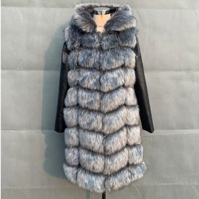 90CM Winter Warm Fur Jacket Overcoat With Hooded Women Faux Fox Fur Coat With PU Sleeve High imitation Fox Fur Jacket Outerwear