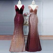 Velvet Party Dress Plus Size Women V Neck Sleeveless Long Mermaid Sequin Dresses