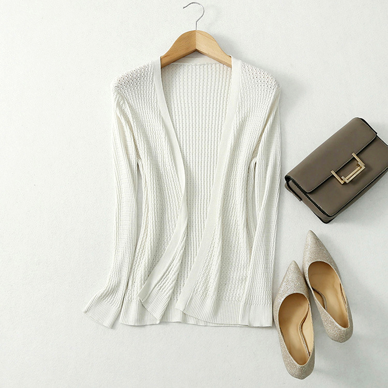 Knitted Cardigan Summer Women Ladies Knitwear Silk Hollow Out Thin Loose Mujer Autumn White Black Tops
