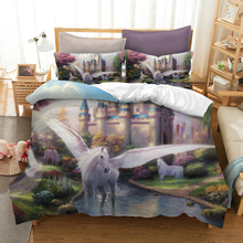 Watercolor Unicorn Bedding Set 3D Printed Three-piece With Pillowcase Queen King 12 Sizes Bedclothes Home Textile