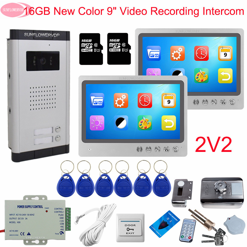 9inch Video Intercom With Recording+16GB TF Card Monitoring Camera System Intercom For A Private House With Rfid Electronic Lock