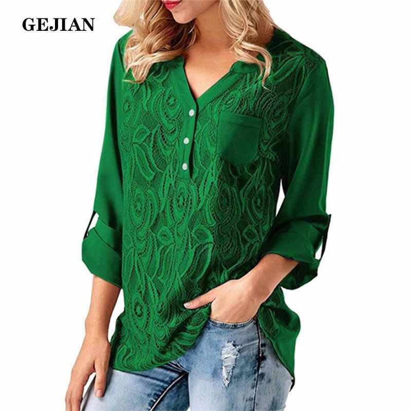 GEJIAN Chiffon Blouse Women  Autumn Solid V-Neck Lace Shirts Long Sleeve Ladies Tops Elegant Loose Office Blouses Blusas Mujer