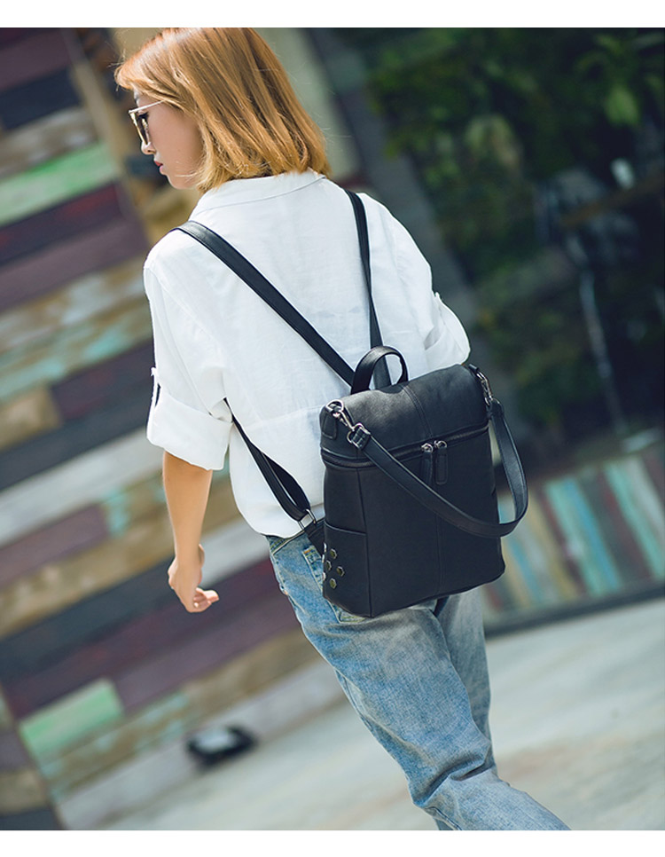 Vintage Women Backpack Leather Rivet School Backpacks For Teenage Girls Large Travel Shoulder Bags mochila Black 2020 XA999H