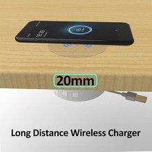 20mm qi invisível carregador sem fio mesa de carregamento almofada móveis mesa incorporado para iPhone 11Pro XS Max 11 X 8Plus Samsung S20 S10 S9 S8 Note10 note9 note8 Xiaomi HUAWEI