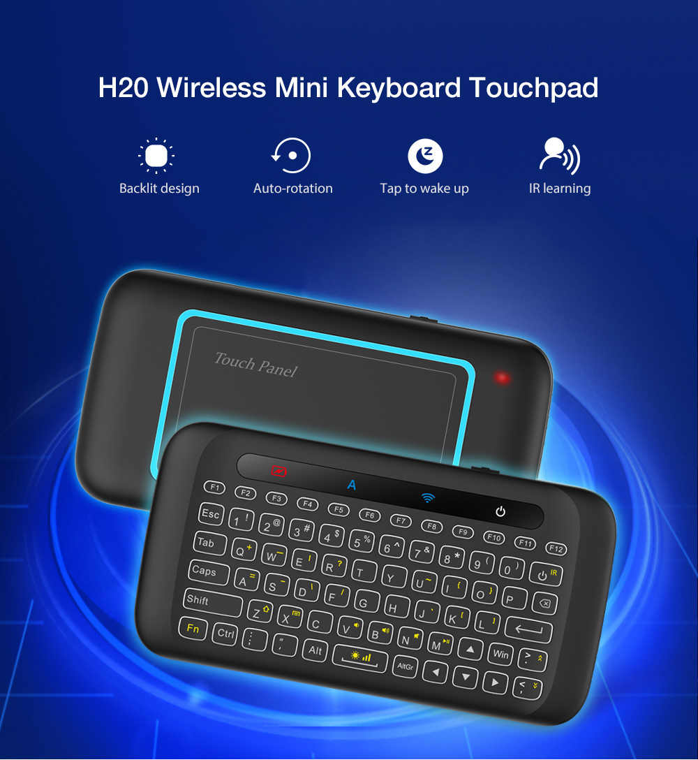 H20 2.4 GHZ Wireless Mini Keyboard พร้อม Touchpad Air Mouse IR Leaning รีโมทคอนโทรลสำหรับ Android TV Box PC