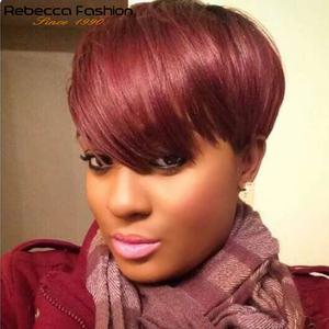 Rebecca короткие прямые волосы парик перуанские Remy человеческие волосы парики для черных женщин коричневый красный полный парик дешевые оптом...