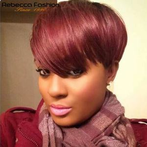 Rebecca Short Straight Hair Wig Peruvian Remy Human Hair Wigs For Black Women Brown Red Full Wig Cheap Wholesale hair bangs wig(China)