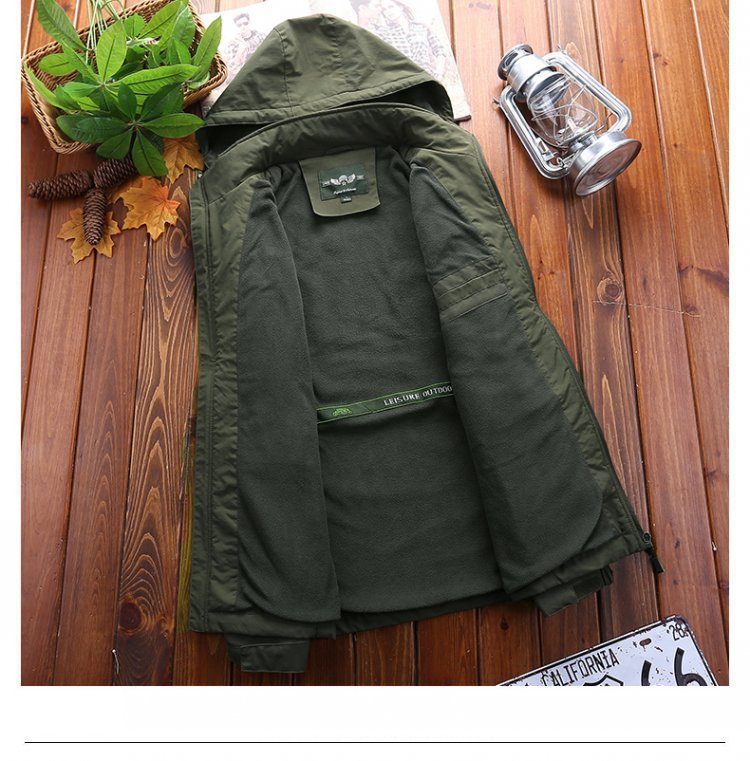 Outdoor Waterproof Jacket MEN'S Outerwear Autumn & Winter Waterproof Large Size Brushed And Thick Jacket Mountaineering 689