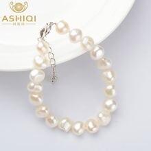Ashiqi натуральные жемчужные браслеты барокко 9 10 мм белый