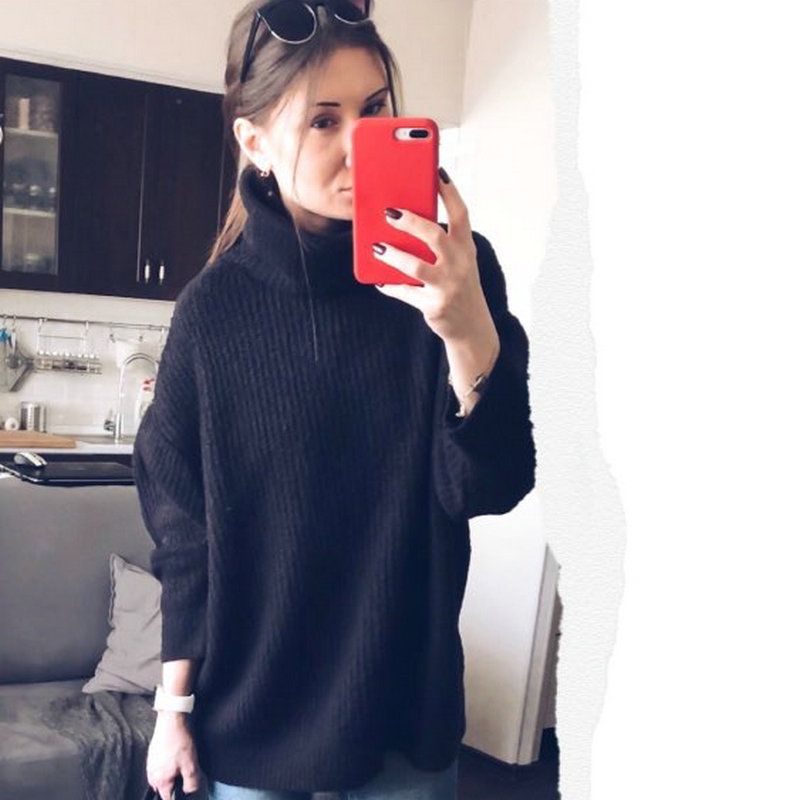 Tangada women jumpers turtleneck sweaters oversize winter fashion 2019 long sweater coat batwing sleeve christmas sweate