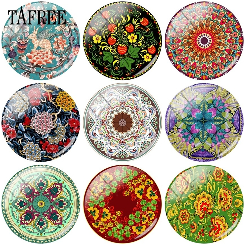 TAFREE Colorful Pattern Art Picture 12mm/15mm/16mm/18mm/20mm/25mm Flower Photo Glass Cabochon Demo Flat Back Making Findings