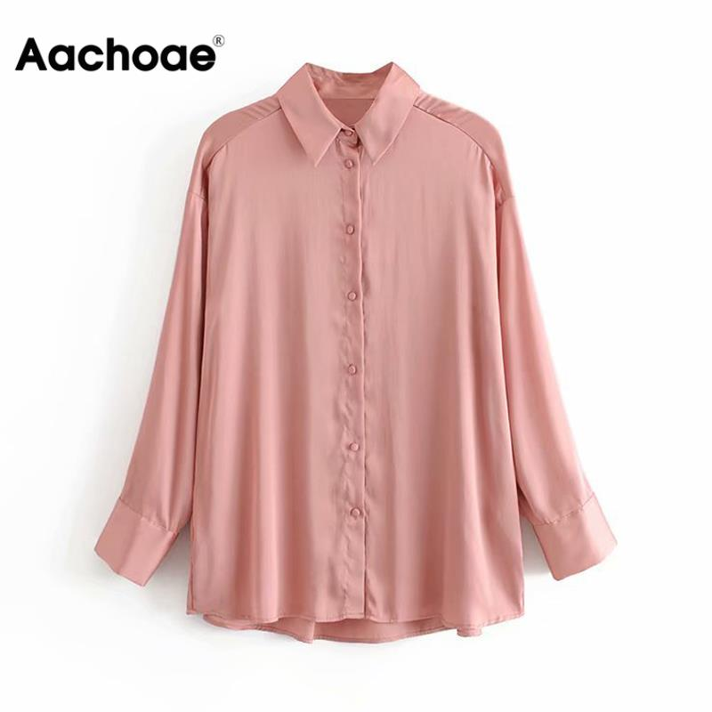 Chic Women Tops Solid Satin Silk Blouse Long Sleeve Loose Soft Shirt Vintage Femme Turn Down Collar Elegant Ladies Office Blouse