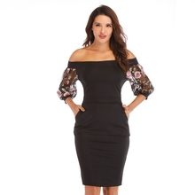 Women Sexy Slash neck Embroidery lace 3/4 sleeve Casual dress suit Lady Elegant work Office Knee-Length Party Pencil dress suit army green casual cap sleeve v neck ruffle work casual a line skater knee length cross wrap party tea swing dress