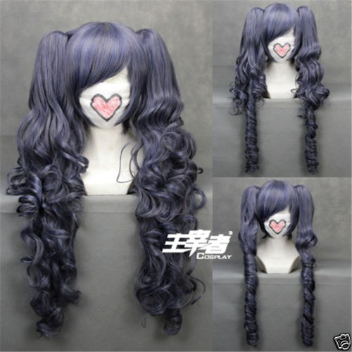 Black Butler Kuroshitsuji Ciel Phantomhive Wig Blue Grey Mix Synthetic Hair Cosplay Wigs With Clip Removable Ponytails + Wig Cap