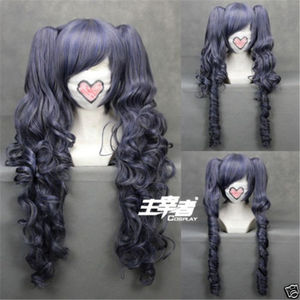 Black Butler Kuroshitsuji Ciel Phantomhive Wig Blue Grey Mix Synthetic Hair Cosplay Wigs With Clip Removable Ponytails + Wig Cap(China)