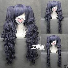 Парик Черного двореца куросицудзи Ciel Phantomhive, смешанный синий и серый синтетические волосы, парики для косплея с зажимом, съемные хвосты + шапочка для парика