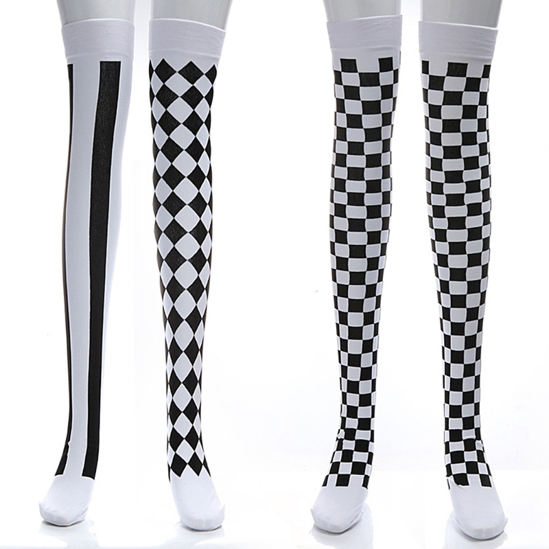 Clown Costume Black White Plaid Knee-High Long Socks Halloween Carnival Party