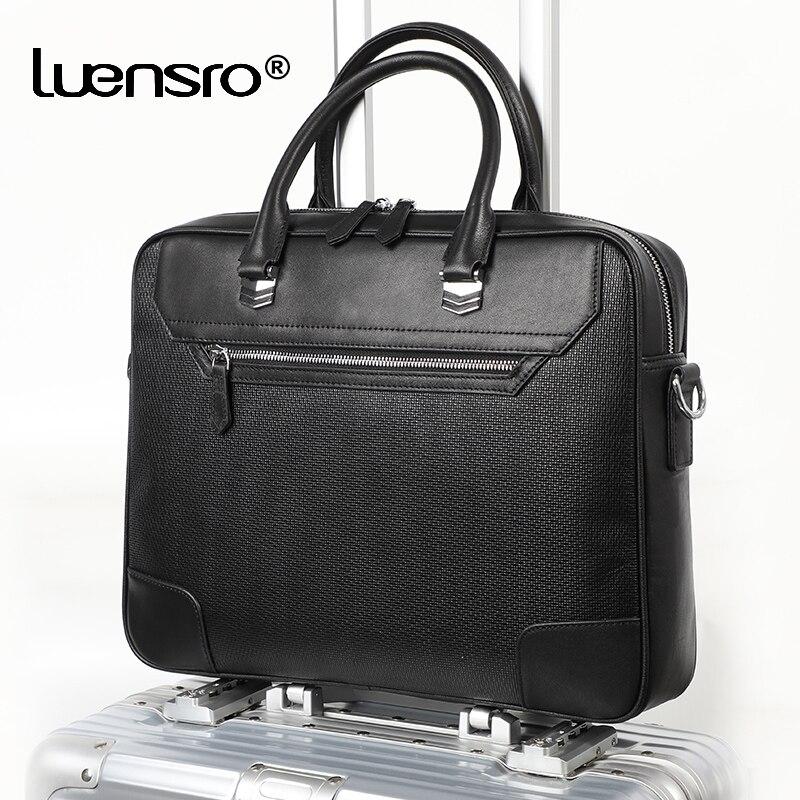 LUENSRO Men Briefcase Business Tote Laptop-Bag Cowskin Male 100%Natural