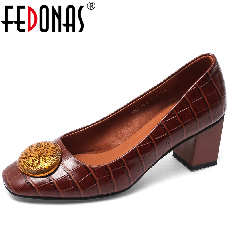 FEDONAS Women Pumps Cow Leather Prom Shoes Party Shoes Spring Summer Metal Decoration Vintage 2020 Fashion Shoes Woman