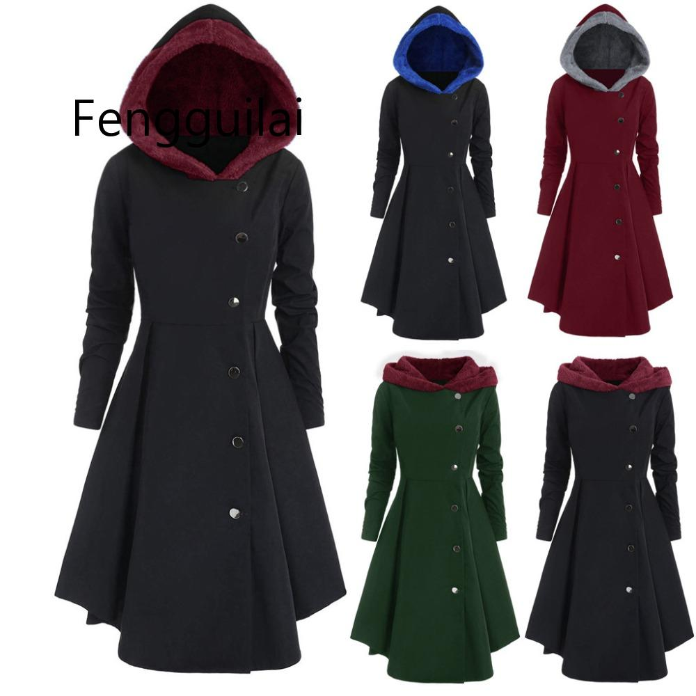 XL~4XL Women Plus Size Asymmetric Fleece Hooded Single Breasted Long Drap Buttons Gothic Coat Manteau Femme Trench Coat Black