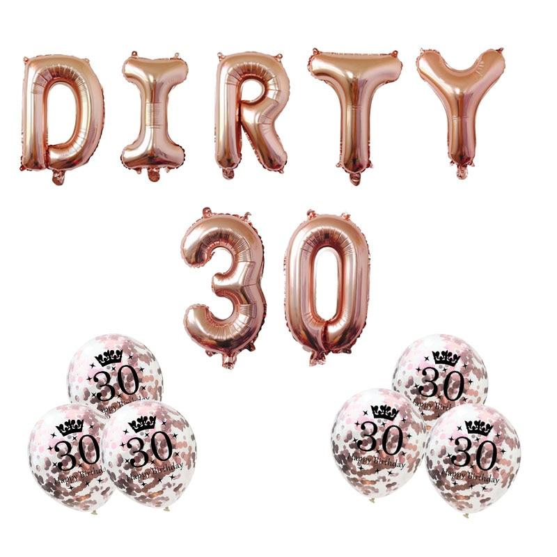 Воздушные шары 7 шт./лот, 16 дюймов, розовое золото, серебро, грязный, 30 тридцать 30, 50, 60-й день рождения, милые, для девочек, украшения для дня рож...