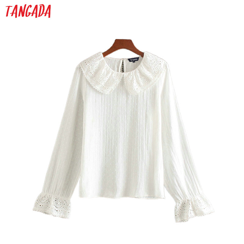 Tangada Women Ruffle Embroidery White Shirts Long Sleeve Solid Peter Pan Collar Sweet Ladies Blouses CE300