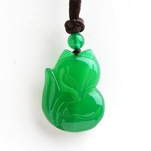 Настоящий халцедон, белый зеленый кулон, ожерелье, лиса, нефрит, подвески, ожерелья, подарок для мужчин и женщин, нефритовые ювелирные издели...