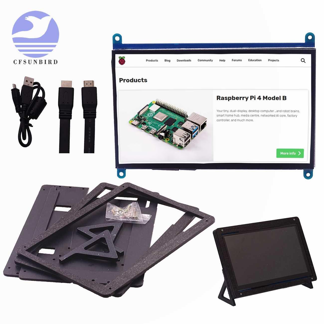 جديد 7 بوصة التوت بي 4 نموذج B 3B زائد شاشة إل سي دي باللمس شاشة 1024*600 800*480 HDMI TFT + حامل