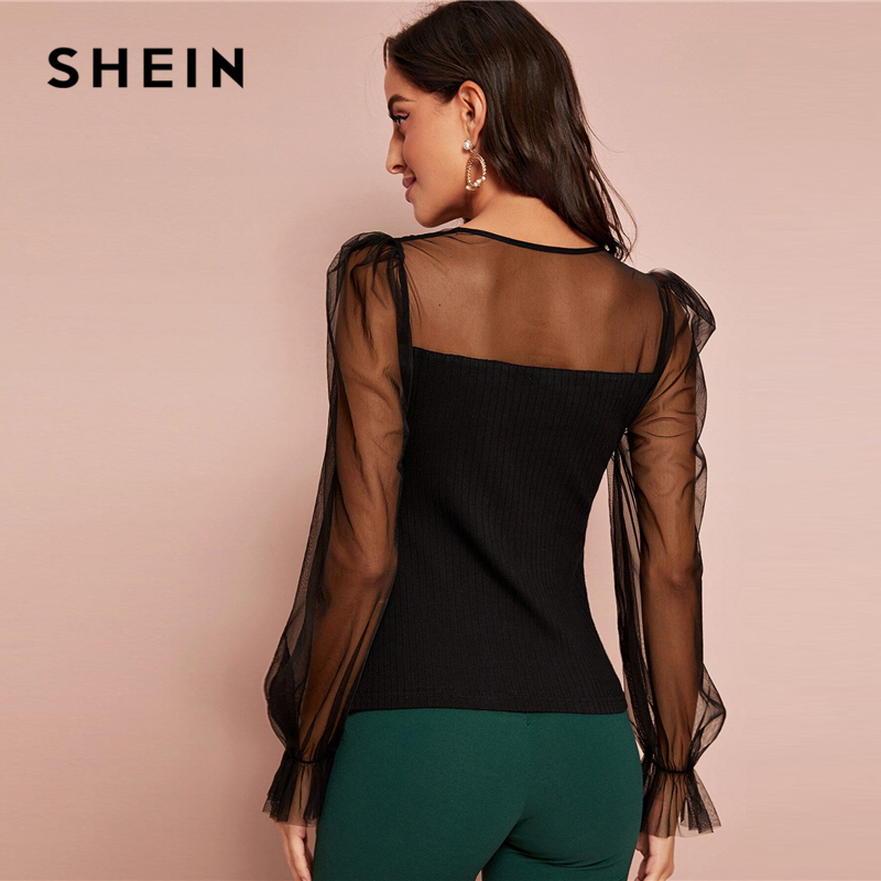 SHEIN Black V-Neck Contrast Mesh Sleeve Ribbed-Knit Elegant Top Women Autumn Flounce Sleeve Sheer Form Fitted Solid T-shirts 2