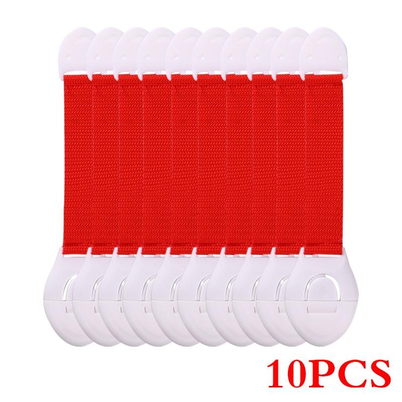 10 шт./лот защита от детей блокировка дверей для безопасности детей детский пластиковый замок Лучшие продажи - Цвет: Красный