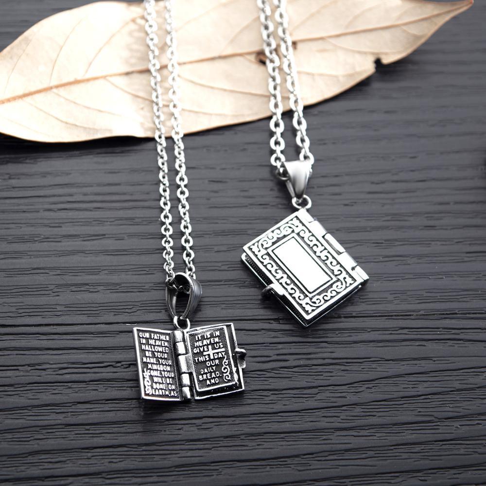 Marque bijoux rétro croix Bible hommes et femmes amoureux colliers peuvent ouvrir des pendentifs de prière pour des cadeaux de lettrage personnalisés - 3