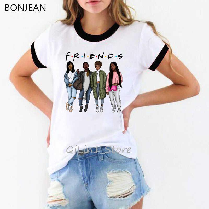 מלנין מלכות מודפס גרפי tees נשים הטוב ביותר חברים tshirt femme ווג סקסי לבן רינגר טי קיץ בגדים העליונים בסיסית t חולצה