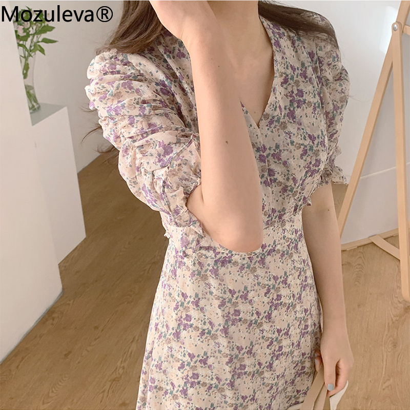 Mozuleva New Summer Bohemian Floral Print Women's Long Dresses Female Chic Chiffon V-Neck High Waist Casual Loose Dresses 2020