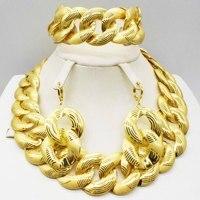 Fashion Wedding Bridal Crystal Rhinestone Jewelry Sets African Beads Dubai Gold Color Statement Jewellery Costume