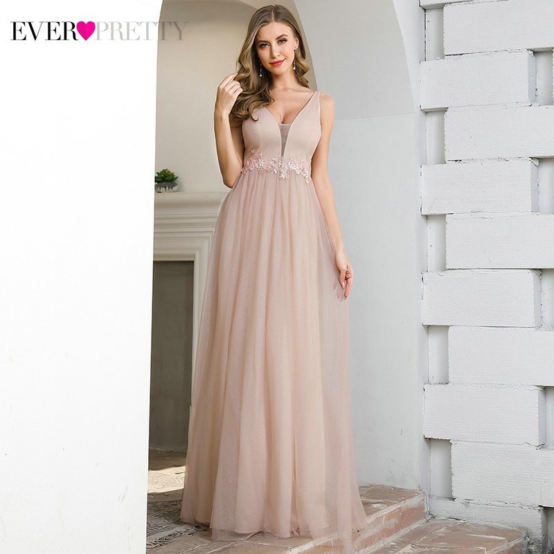 Pink Prom Dresses Ever Pretty EP00780PK Appliques A-Line Deep V-Neck Sleeveless Elegant Gala Dresses For Party Vestido Formatura