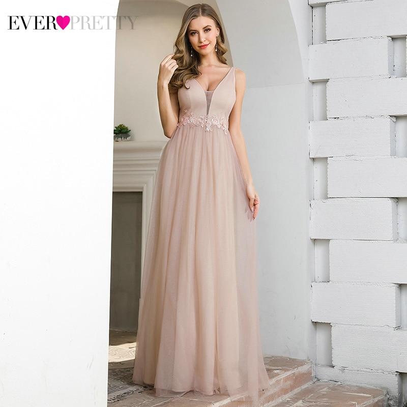 Pink Prom Dresses Ever Pretty EP00780PK Appliques A-Line Deep V-Neck Sleeveless Elegant Gala Dresses For Party Vestido Formatura