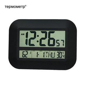 Image 2 - الزخرفية الرقمية ساعة تنبيه الحائط الجدول نتيجة مكتبية درجة الحرارة ميزان الحرارة الرطوبة ساعة للتحكم في الراديو