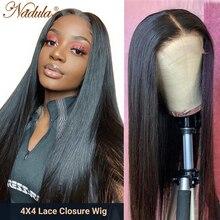Perruque Lace Closure Wig Remy naturelle lisse – Nadula, 4x4, densité 150% /180%, pour femmes africaines