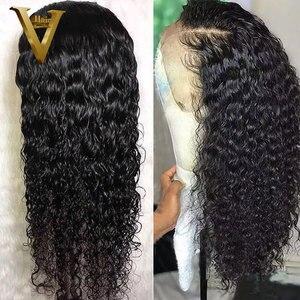 Image 5 - Pré arrancado 13x6 parte profunda frente do laço perucas de cabelo humano encaracolado peruca peruano remy do cabelo peruca frontal do laço para a onda de água das mulheres 130%