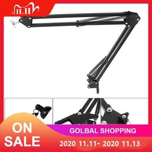 Image 1 - Soporte Universal de brazo Flexible de Metal, de largo brazo oscilante, soporte de pie apto para lámpara de mesa, condensador, micrófono