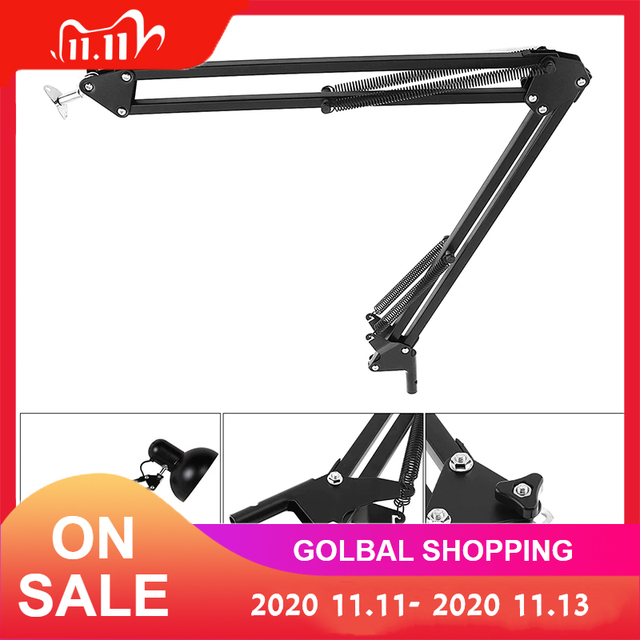 Soporte Universal de brazo Flexible de Metal, de largo brazo oscilante, soporte de pie apto para lámpara de mesa, condensador, micrófono