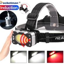 Ultra Bright XPG+COB LED Headlamp Zoom Headlight 5 LED T6 Head Torch Flashlight Motion Sensor Head Lamp 18650 Head Lamp