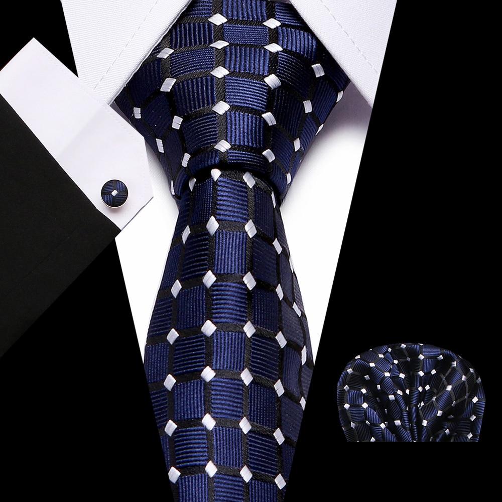 Mens7.5cm Tie Skinny  Palid 100% Silk Classic Jacquard Woven Extra Long Tie Hanky Cufflink Set For Men Formal Wedding Part