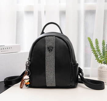 Fashion Black Real Leather Backpack Female Backpacks for Adolescent Girls Women Spliced Casual Small School Bag