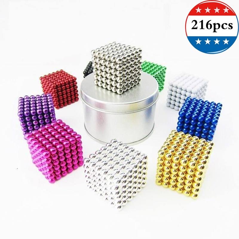 216 шт. магнитные шарики диаметром 6 мм, цвет с коробкой из сплава, постоянный Неодимовый магнитный шар