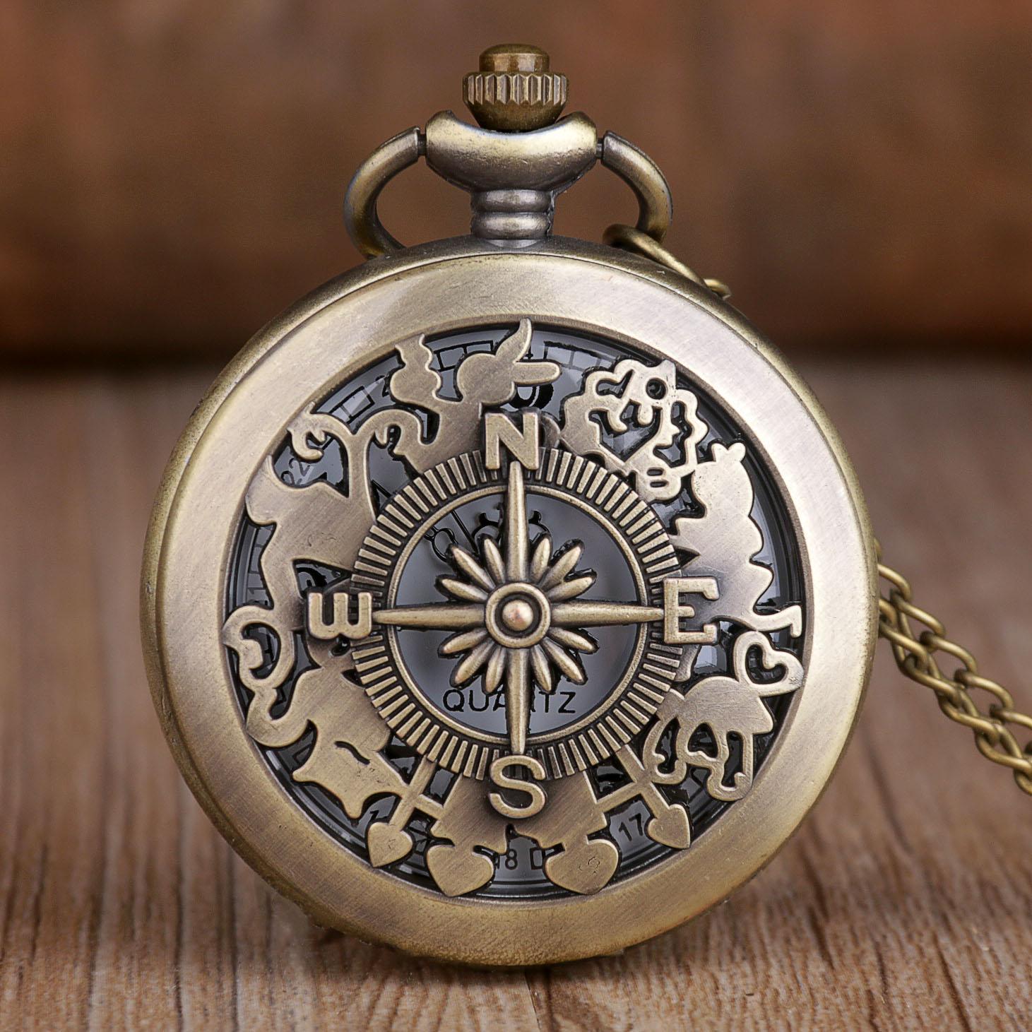 Fashion Pocket Watches Alice In Wonderland Hollow Quartz Pocket Watches Vintage Mens Womens Bronze Necklace Chain Clock Gifts